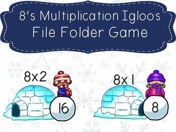 8's Multiplication Igloos File Folder Game