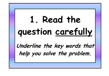 8 steps to solving a maths word problem display posters