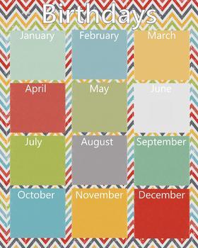 8 x 10 Birthday Chart