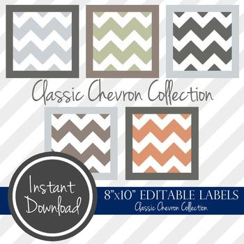 "8"" x 10"" EDITABLE PRINTABLE Labels - Classic Chevron Collection"