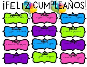 """8.5 x 11"""" Classroom Birthday Chart - Bilingual Spanish-English"""