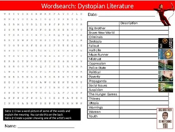 8 x Dystopian Literature Starter Activities Wordsearch Crossword English