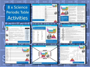 8 x the periodic table starter activities science keywords wordsearch urtaz