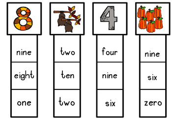 80 Autumn/ Fall Themed Number Clip Cards