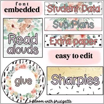 80 EDITABLE Classrom Labels - Secret Garden Theme