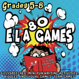 80 ELA Games for grades 5-8, Middle School Fun Activities!