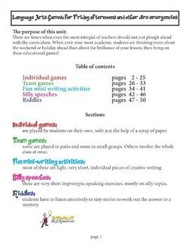 80 ELA Games for grades 9-12