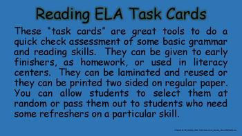 80 ELA Homework Classwork Reading Task Cards