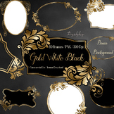80 Luxury Gold, Black, White Antique Royal Labels Frames