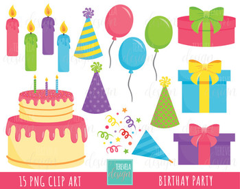50% SALE BIRTHDAY clipart, party clipart, commercial use, balloons, candles