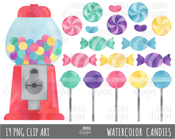 80% SALE CANDY clipart, bubble gum clipart, WATERCOLOR CANDIES