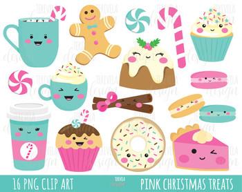 50% SALE CHRISTMAS clipart, christmas treats, christmas graphics, PINK