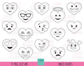 80% SALE Emoji hearts digital stamps, valentine's day digi stamps, emoji stamps