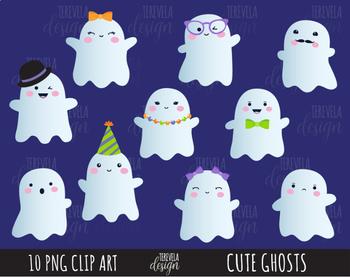 50% SALE HALLOWEEN clipart, ghost clipart, kawaii halloween clipart