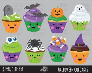 80% SALE  KAWAII HALLOWEEN cupcakes clipart, HALLOWEEN clipart,
