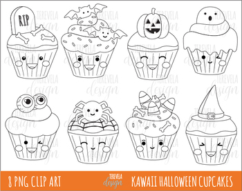 80% SALE  KAWAII HALLOWEEN cupcakes clipart, HALLOWEEN clipart, BLACK LINE