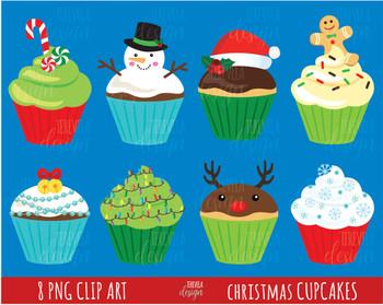80% SALE  christmas cupcakes clipart, christmas clipart