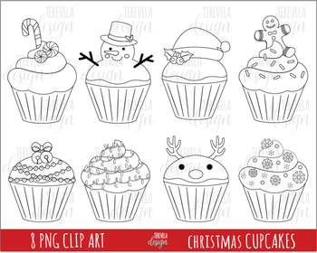80% SALE  christmas cupcakes clipart, christmas clipart, black line