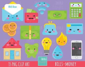 80% SALE money clipart, house clipart, piggy bank graphic, bills graphics, cute