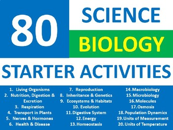 80 Science Biology Starter Activities Keyword Wordsearch Crossword Anagrams