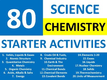 80 Science Chemistry Starter Activities Wordsearch Crossword Anagram Homework