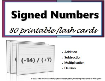 80 Signed Numbers Flash Cards (Printables)