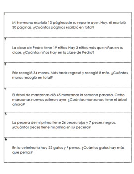 80 Spanish Word Problems 2nd Grade {Addition & Subtraction}