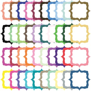 Square Stitched Solid and Border Frame Clip Art