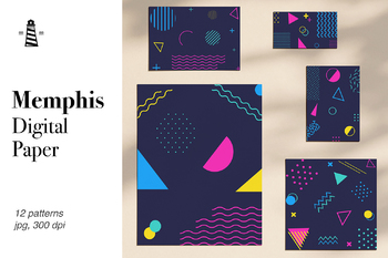 80's 90's Memphis Patterns, Geometric Digital Paper, Memphis Design