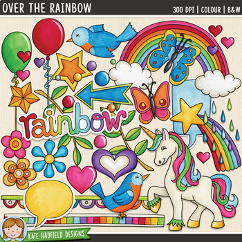"80's Kitsch Retro Clip Art: ""Over the Rainbow"""