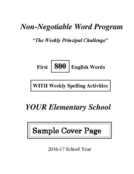 800 Non-Negotiable Word Program WITH Spelling Activities (FREE)