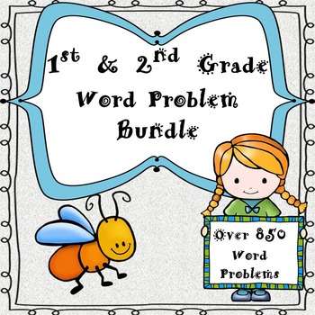 1st & 2nd Grade One & Two Step Word Problems-Bundle (840 P