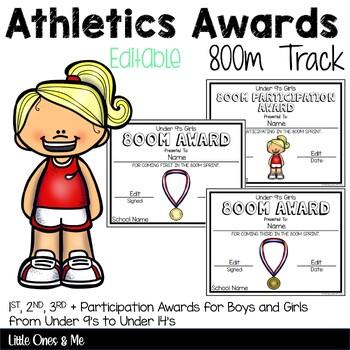 800m Track Athletics Awards Editable