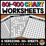 801 TO 900 CHART WORKSHEETS BLANK & FILL IN THE MISSING NU