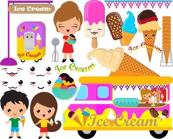 81 PNG Files- Kawaii Ice Cream ClipArt- Digital Clip Art Graphics (126)