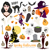 81 Spooky Halloween Clipart. Fall Scrapbook printables Trick or Treat Graphics
