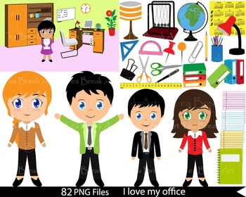 82 PNG Files- Office Set & Office People ClipArt- Digital