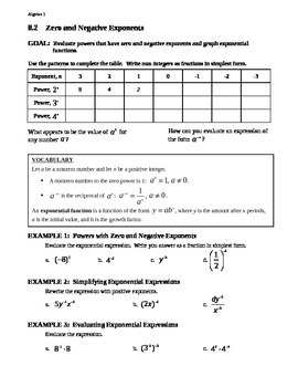 8.2 Zero and Negative Exponents