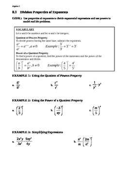 8.3 Division Properties of Exponents (A)