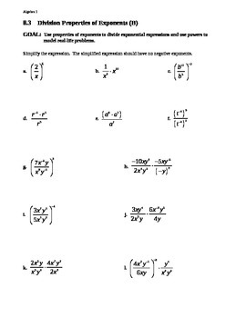 8.3 Division Properties of Exponents (Day 2)