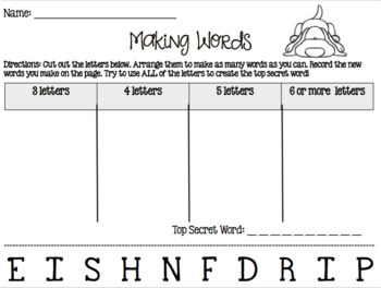 83 Making Words Activities for Daily Five Word Work PRINT AND GO!