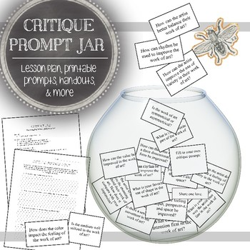 84 Art Critique Jar Prompts & 3 Activities for Individual, Small, & Large Groups