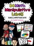 84 Math Manipulative Labels {Black & White Polka Dots}