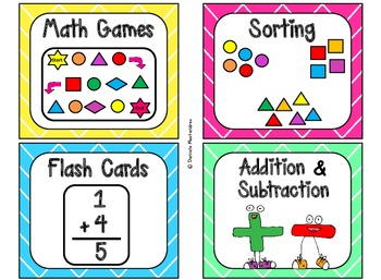 84 Math Manipulative Labels {Bright Colors Theme}