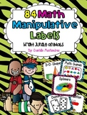 84 Math Manipulative Labels {Bright Jungle Animal Theme}