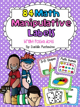 84 Math Manipulative Labels {Bright Polka Dots}