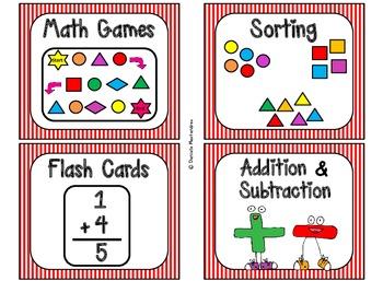 84 Math Manipulative Labels {Circus / Movie Stripes}