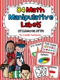 84 Math Manipulative Labels {Circus / Movie Stripes}