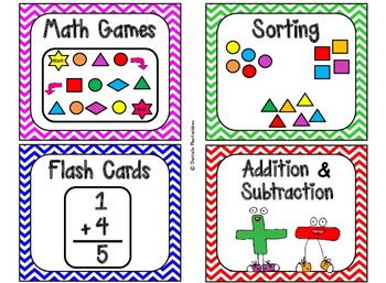 84 Math Manipulative Labels {Colorful Chevrons}