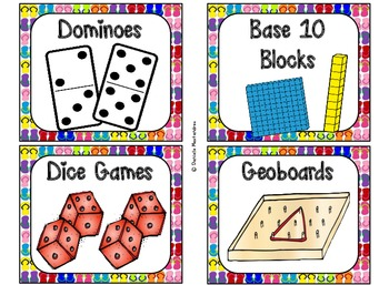 84 Math Manipulative Labels {Flip Flop Theme}